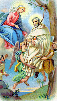 antique Italian holy card of Blessed Peter Armengol, date unknown, artist unknown