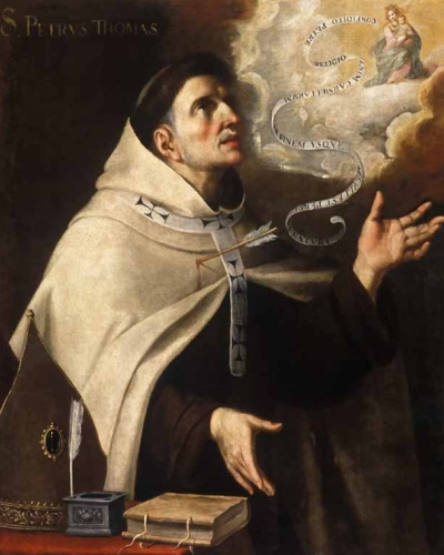 detail of a painting of Blessed Peter Thomas by Brother Juan del Sacramento Santísima, c.1675, Museum of Fine Arts, Cordoba, Spain; swiped from Wikimedia Commons