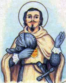 detail of an antique Italian holy card of Blessed Raimondo of Monteolivo by Bertoni, date unknown; swiped from Santi e Beati
