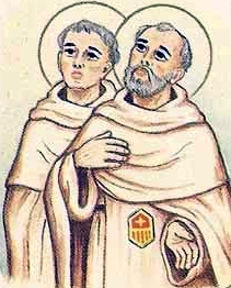 detail of an Italian holy card of Blessed Raymond and William of Granada by Bertoni, date unknown; swiped from Santi e Beati