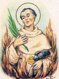 detail of an Italian holy card of Blessed Theobald of Narbonne by Bertoni, date unknown; swiped from Santi e Beati