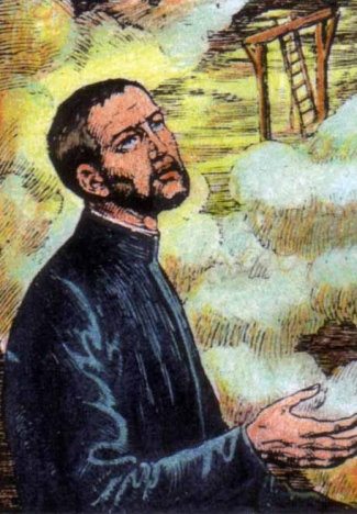 detail from an Italian holy card of Blessed Thomas Hemeford, date and artist unknown; swiped from Santi e Beati