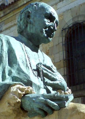 statue of Cardinal Herrera Oria; date unknown, artist unknown; Santander, Cantabria, Spain; photographed on 2 May 2008 by Zerep11; swiped from Wikimedia Commons