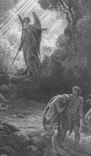 'Adam and Eve Driven out of Eden' by Gustave Dore; the angel is described in Genesis as one of the cherubim armed with a flaming sword