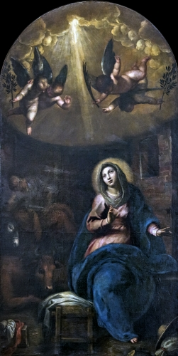painting of 'The Expectation of the birth of the Virgin Mary' by Palma il Giovane, 1628; Church of San Geremia, Venice, Italy; photographed on 31 May 2016 by Didier Descouens; swiped from Wikimedia Commons