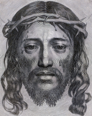 detail of an engraving of the Face of Christ by Claude Mellan, 1649; swiped from Wikimedia Commons