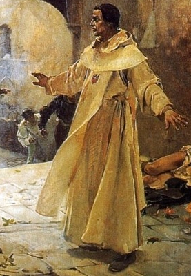 detail of an oil painting of El Padre Jofré defending a mentally ill person from a mob; 1887 by Joaquín Sorolla; Palacio de la Generalidad Valenciana, Spain; swiped from Wikimedia Commons