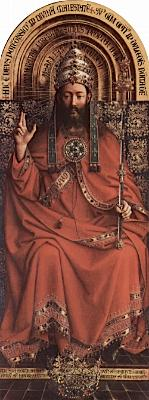 detail from the Ghent altar piece featuring Christ as king of the world, cathedral of Saint Bavo, by Jan van Eyck