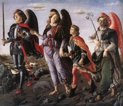 'The Three Archangels with Tobias' by Francesco Botticini, c.1470, Galleria degli Uffizi, Florence, Italy
