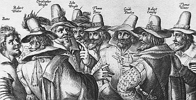 illustration of the conspirators of the Gunpowder Plot