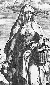 detail of an antique illustration of Saint Joanna the Myrhhbearer