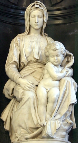 statue of the Madonna and Child by Michelangelo, cathedral of Brügge, Belgium; photographed on 7 February 2005 by Elke Wetzig; swiped from Wikimedia Commons