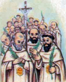 detail of an Italian holy card of the Martyrs of Beziers, date and artist unknown; swiped from Santi e Beati