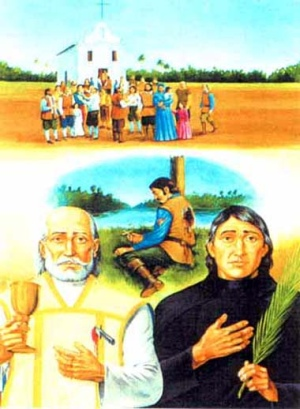 Martyrs of Brazil holy card, date and artist unknown; swiped from Santi e Beati