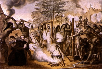 illustration of the martyrdom of the Martyrs of North America, c.1927 by unknown Jesuit; swiped from Wikimedia Commons