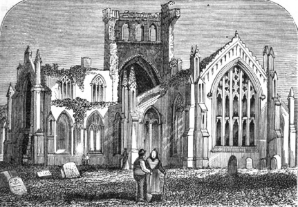 illustration of Melrose Abbey, artist unknown, printed in the 1875 Illustrated Catholic Family Annual