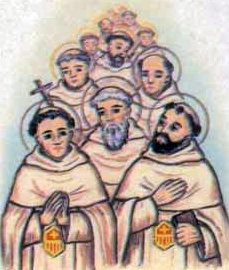 detail of an Italian holy card of the Mercedarian Fathers of Avignon, by Bertoni, date unknown; swiped from Santi e Beati