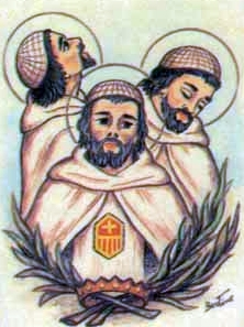 detail of an Italian holy card of the Mercedarian Martyrs of Damietta by Bertoni, date unknown; swiped from Santi e Beati
