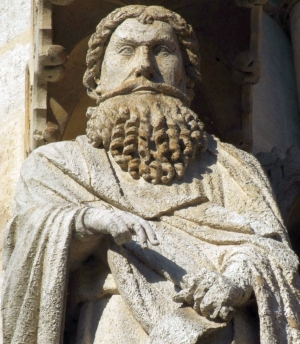 detail of a statue of Nahum the Prophet, date and aritst unknown; exterior of the Cathédrale Notre-Dame d'Amiens, France; photographed on 8 January 2008 by Mattana; swiped from Wikimedia Commons