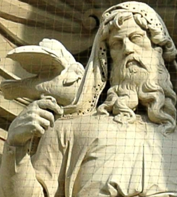 detail of a photograph of a statue of Noah the Patriarch and the dove that brought the olive branch indicating the receding of the Flood waters; artist unknown, date unknown; outdoor niche on the Museum of Natural History, Vienna, Austrial; photographed by Viennpixelart on 26 July 2014; swiped off Wikemiedia Commons
