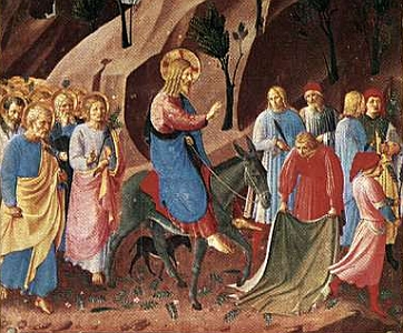detail of a painting of the entrance to Jerusalem by Fra Angelico, c.1450, Museo di San Marco, Florence, Italy