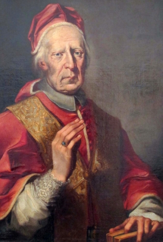 detail of a portrait of Pope Clement XII, artist unknown, 18th century; Brukenthal National Museum; photographed by sailko; swiped from Wikimedia Commons