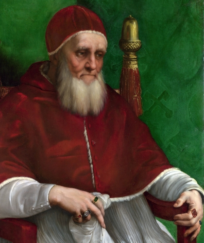 detail of a portrait of Pope Julius II by Raphael, 1511; National Gallery, London, England; swiped from Wikimedia Commons