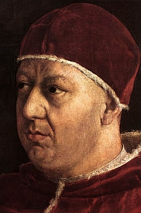 detail from 'Portrait of Pope Leo X with Cardinals Giulio de' Medici and Luigi de' Rossi', 1513-1519, Oil on panel, Palazzo Pitti, Galleria Palatina, Florence, Italy, by Raphael; thanks to sue