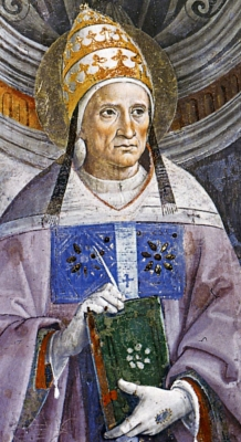 detail of a portrait of Pope Saint Antherus by Pietro Perugino, 1483, Vatican Museums and Galleries, Vatican City, Italy