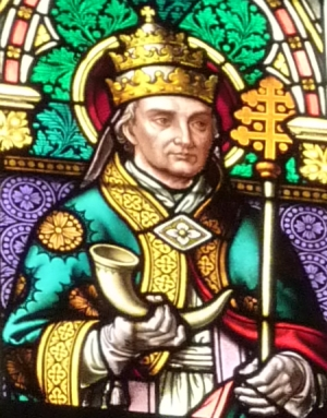 detail of a stained glass window of Pope Saint Cornelius, by Clemens Winkhold, 1889; church of Saint Barbara, Breunig, Germany; photographed on 6 November 2010 by Reinhardhauke; swiped off Wikimedi Commons