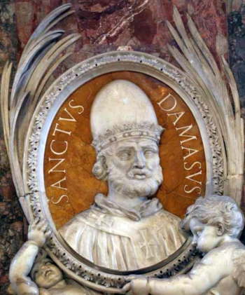 detail of a bas-relief portrait medallion of Pope Saint Damasus, date and artist unknown; Saint Peter's Basilica, Rome, Italy