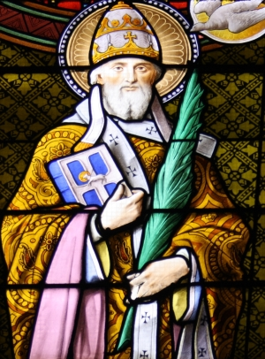 detail of a stained glass window of Pope Saint Fabian; artist unknown, date unknown; choir loft, church of Saint-Gratien, Haussaire, Val-d'Oise, Île-de-France, France; photographed on 6 August 2012 by GFreihalter; swiped from Wikimedia Commons