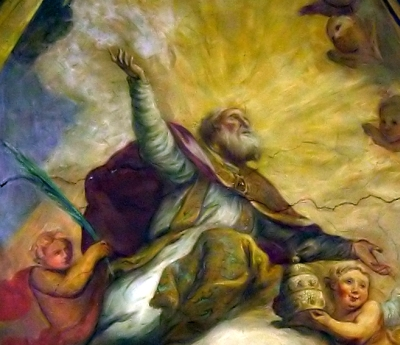 detail of a the painting 'Gloria di San Marcello'; by Giovanni Battista Ciocchi, date unknown; sacristy ceiling fresco, San Marcello al Corso, Rome, Italy; photographed on 11 November 2005 by antmoose; swiped from Wikimedia Commons