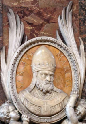 detail of a bas-relief portrait medallion of Pope Saint Marcus, date and artist unknown; Saint Peter's Basilica, Rome, Italy