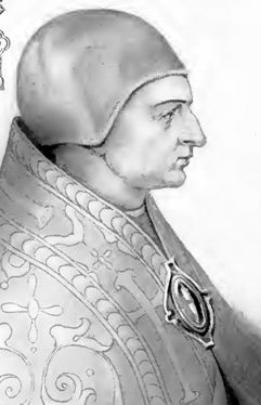 detail of an illustration of Pope Sergius II by Artaud de Montor, 1842; originally published in 'The Lives and Times of the Popes', Catholic Publication Society in America, 1911; swiped from Wikimedia Commons