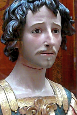 photograph of a polychrome and gilt wood reliquary bust of Saint Acisclus, by Pedro de Mena y Medrano, c.1680; Hispanic Institute, New York; swiped off Wikimedia Commons