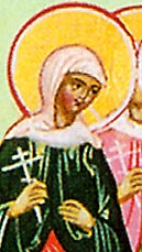 detail of an icon of Saint Agape of Thessalonica
