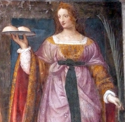 detail of a fresco of Santa Agatha of Sicily by Luini; 16th century; Church of San Maurizio in Milano, Italy; photographed on 12 July 2008 by Warburg; swiped from Wikimedia Commons