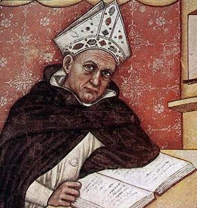 Detalj fra 'St Albert den store' av Tommaso da Modena, 1352, kapittelhuset i San Niccolò i Treviso i Italia