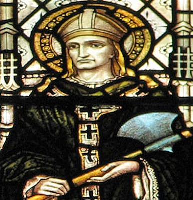 detail of a stained glass window of Saint Alphege of Winchester at the clerestory of Great Saint Mary's church, Cambridge, England, date and artist unknown; photographed by Brother Lawrence Lew, OP; swiped off his flickr site and used with permission