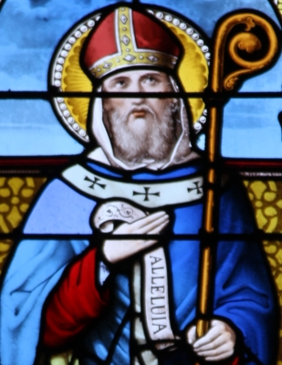 detail of a stained glass window of Saint Armagillus of Brittany, date unknown, artist unknown; photographed on 6 July 2013 by Ggal; swiped from Wikimedia Commons