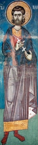 detail of a frescoe depicting Saint Basiliscus of Pontus, c.1340, artist unknown; nave of the church of the Holy Ascension, Visoki Decani monastery, Kosovo