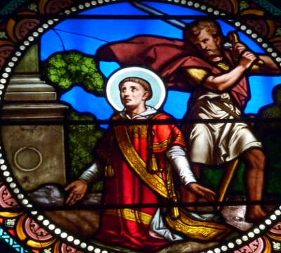 detail of stained glass window depicting the martyrdom of Saint Baudelius of Nimes, artist unknown, church of Saint-Baudile, Noves, France