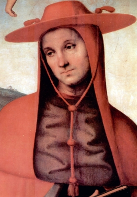 Saint Bernardo degli Uberti as depicted in a detail from the painting 'Assumption With Four Saints', by Pietro Perugino, 1500; Accademia Gallery, Florence, Italy; swiped from Wikimedia Commons