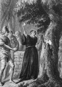 detail of a print of Saint Boniface chopping down the Odin oak; by Daniel Chodowiecki, 1780; Vonderau Museum, Fulda, Germany; swiped from Wikimedia Commons