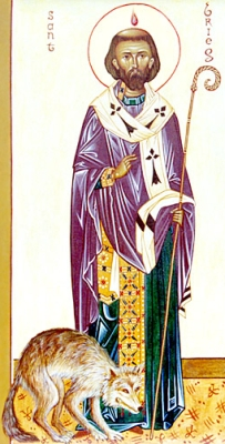 detail from an icon of Saint Brieuc of Brittany, Orthodox Association of Saint Anne of Bretagne
