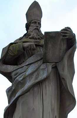 statue of Saint Bruno of Würzburg, artist unknown, Alte Mainbrücke, Würzburg, Germany