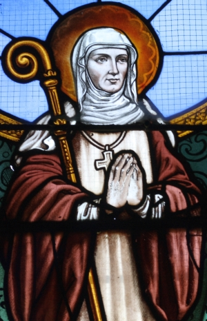 detail of a stained glass window of Saint Burgundofara; date unknown, artist unknown; church of Saint-Sulpice, La Celle-sur-Morin, Seine-et-Marne, Ile-de-France, France; photographed on 10 August 2012 by GFreihalter; swiped from Wikimedia Commons
