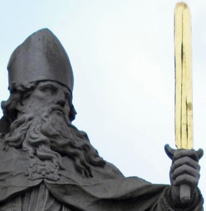 detail of a photograph of a statute of Saint Burkhard of Wurzburg on the Old Main Bridge, Wurzburg, Germany; taken on 14 December 2009 by Str1977; swiped off Wikipedia