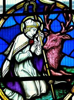 detail of a photograph of a stained glass window of Saint Catwg, Saint Martin's parish church, Caerphilly; taken by Radicalrobbo on 28 May 2009; swiped off Wikipedia